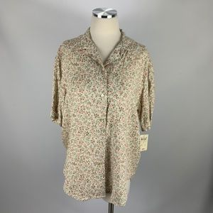 NWT Charter Club Button Front Blouse Sz 8 Floral